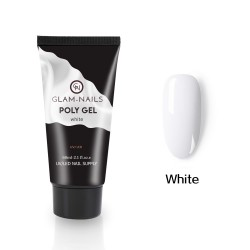 Polygel Glam Nails white